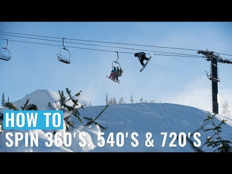 How to 360, 540 and 720 on a Snowboard - Frontside and Backside Spinning Trick Tips - Regular