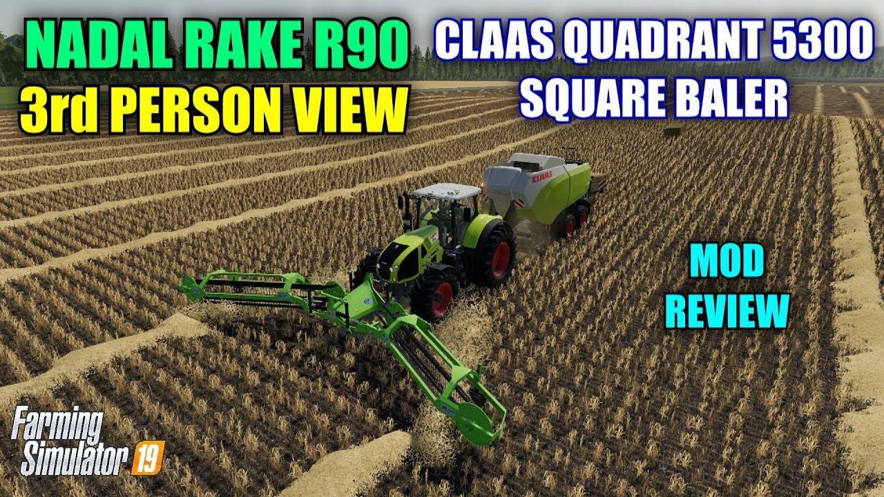 Nadal Rake, Claas Quadrant Baler & 3rd Person View (Mod Review)