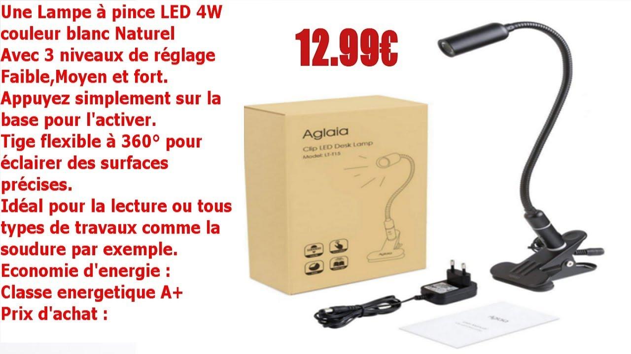 Lampe A Pince Led 4w Flexible Avec 3 Niveaux De Luminosite Reglable