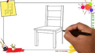 How to draw a chair SIMPLE & EASY step by step for kids