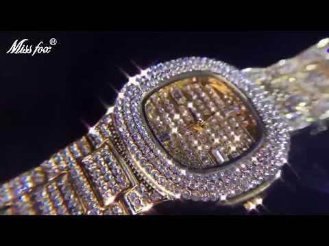 Miss Fox Quartz Watch Ladies Gold Diamond Women Wristwatch (V292)