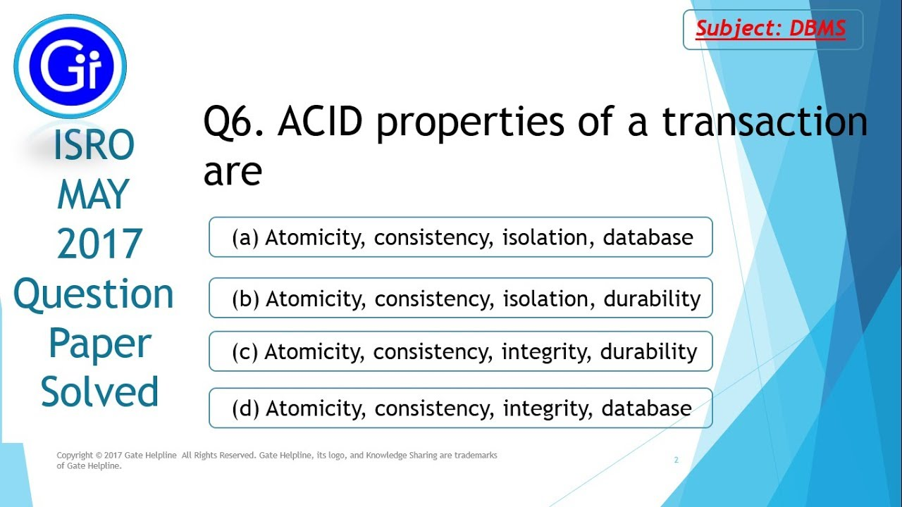 Q6 - Transaction Are Of Isro Youtube 2017 A May Acid Properties