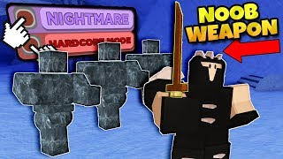 USING NOOB SWORD ON NIGHTMARE WINTER OUTPOST! Roblox: Dungeon Quest