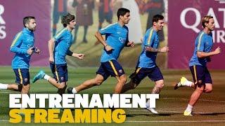 Entrenament del FC Barcelona previ al partit amb la Reial Societat
