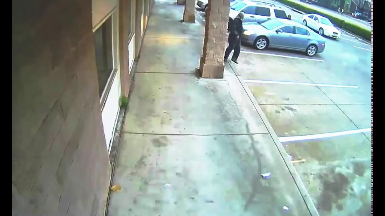 Car Flips Man and Rams Building - Shopping Center Security