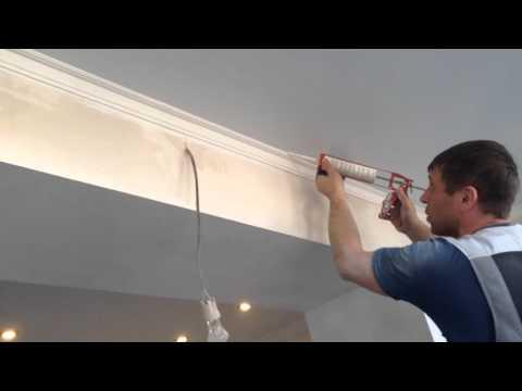 как красить карниз ( галтели ) под натяжной потолок! / how to paint the eaves