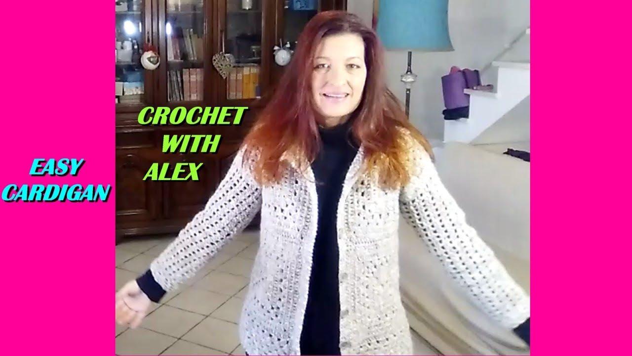 Easy Crochet Cardigan Any Size Tutorial Youtube