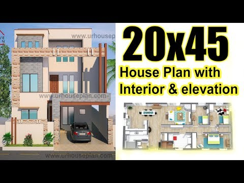 20x45 House plan with Interior & Elevation Complete view