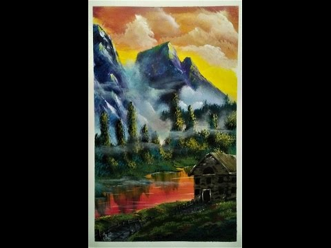 Mountain and Cabin with lake tutorial in acrylic