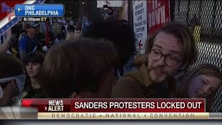 Sanders Protester Locked Out of DNC Speaks to FBN Reporter