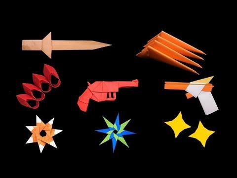 08 Easy paper origami Ninja star/sword/gun