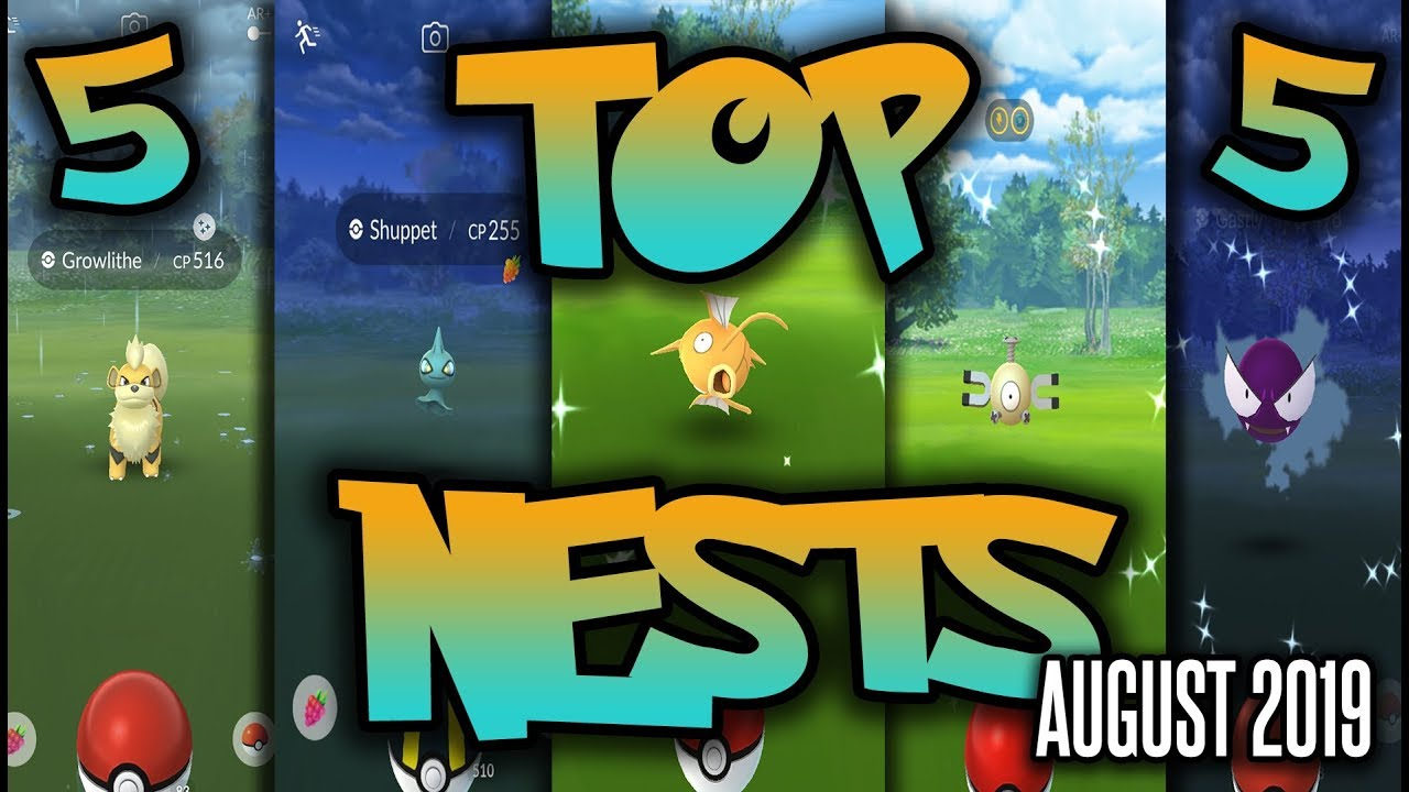 Top 5 Best Shiny Nests in Pokemon GO | August 2019 | Magikarp, Gastly,  Growlithe and More!