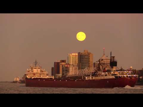 Downtown Detroit, Great Lakes Freighter Arthur Anderson & A Super Moon