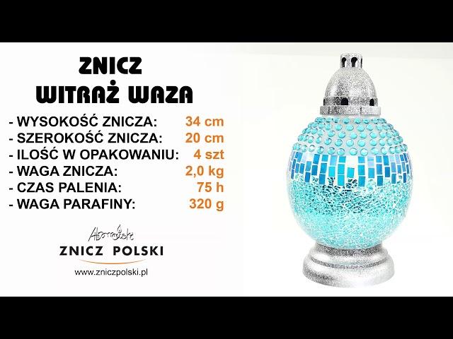 Harmonijny efektowny i artystyczny znicz mozaika Waza – Produkcja zniczy witra?owych