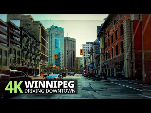 Winnipeg 4K60fps - Driving Downtown - Manitoba, Canada