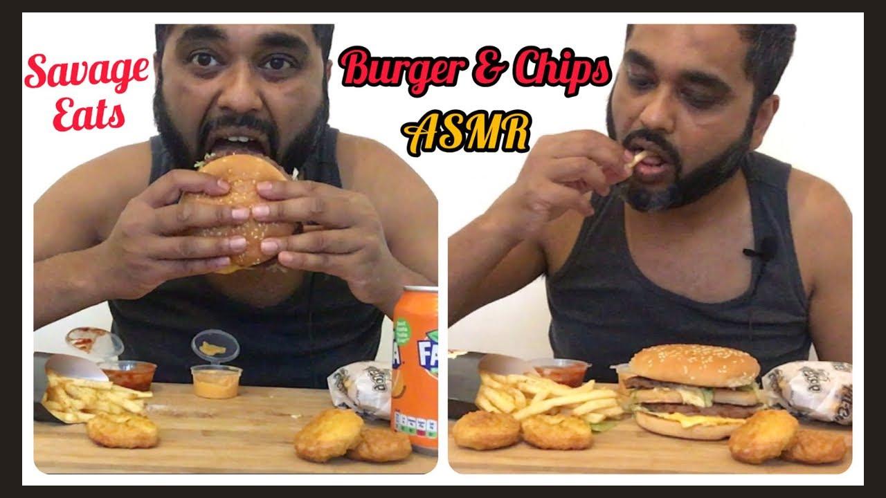ASMR  BURGER & CHIPS EATING SAVAGE EATING BIG BITES SAVAGE EATS EATING NUGGETS EATING CHEESE BURGERS