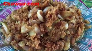 Myanmar Food Recipes fried dry fish and mango recipe သရက္သီးနွင့္ငါးရ႔ံေၿခာက္ေထာင္းေၿကာ္