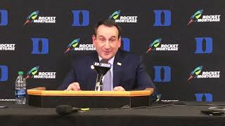Duke coach Mike Krzyzewski following the Blue Devils' loss to Syracuse