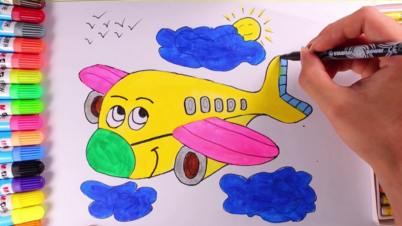 Teach Drawing Airplane Tutorial For Kids And Learn Color With Drawing Airplane Youtube