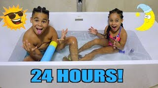 24 HOURS CHALLENGE IN THE BATH! Video