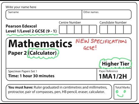 NEW SPEC (9-1) GCSE 2017 Set 1. Paper 2. HIGHER. CALCULATOR