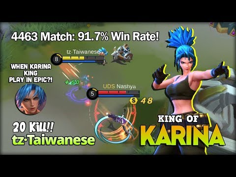 Karina King Is Back & Play In Epic Rank?! Tz·Taiwanese King Of Karina ~ Mobile Legends