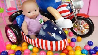 Baby doll and candy bike car toys Baby Doli play