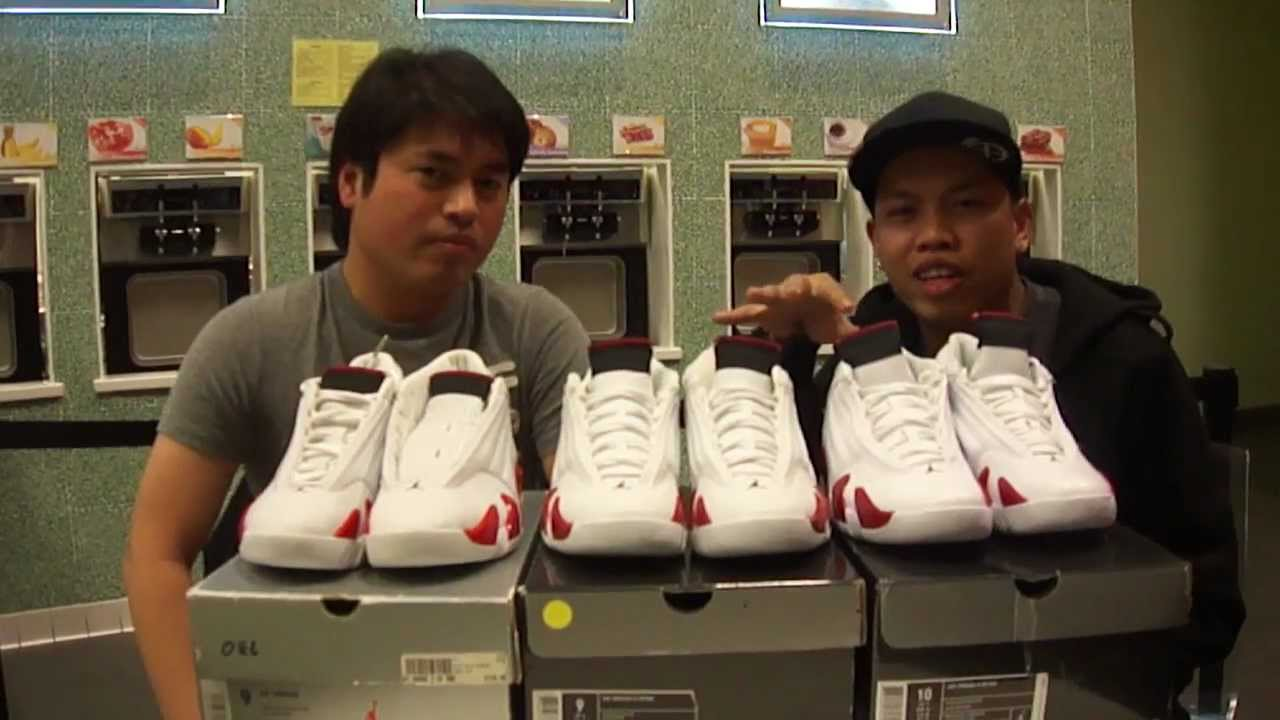 1fe40883121 Air Jordan 14 candy cane comparison w/ Anthonyy2j336 - YouTube