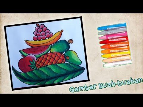 Cara Menggambar Buah Buahan Yang Mudah Dalam Keranjang Daun Gradasi Warna Oil Pastel Youtube