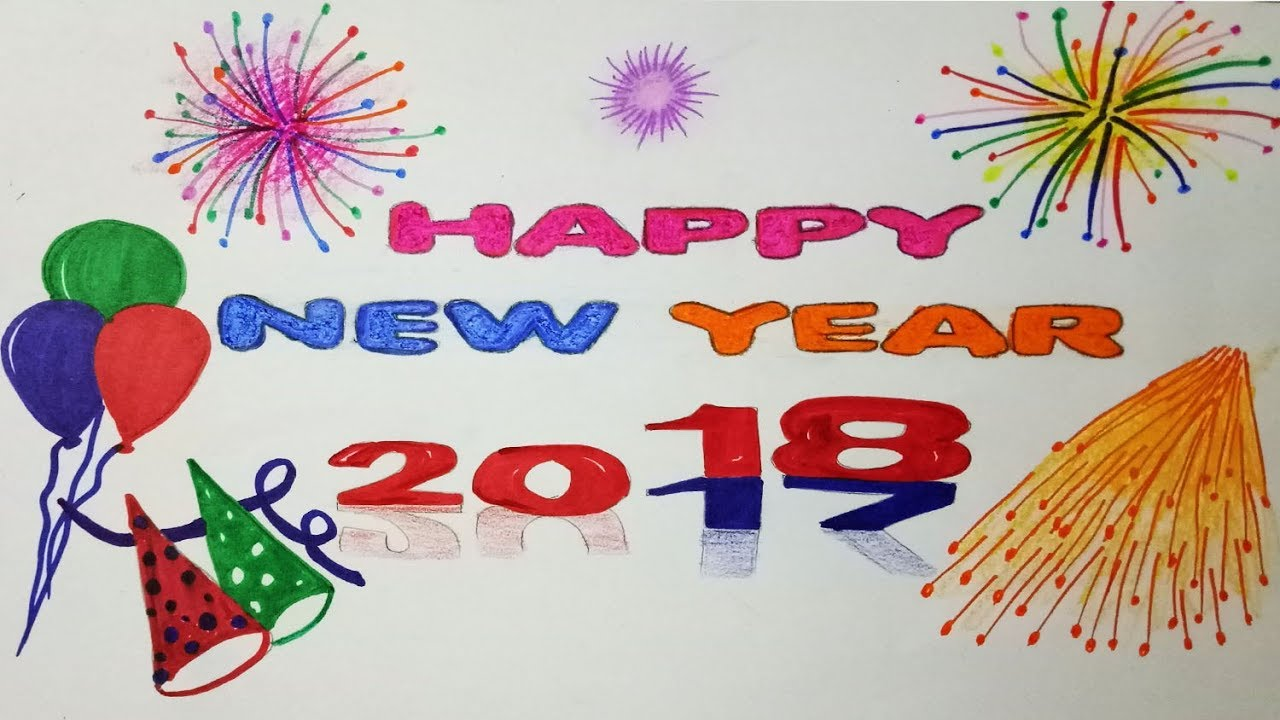 How To Draw Happy New Year 2018 Step By Step Easy Draw Youtube