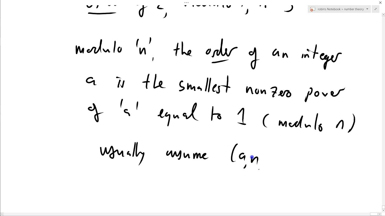 Number theory 40 order of an integer modulo n youtube number theory 40 order of an integer modulo n publicscrutiny Image collections