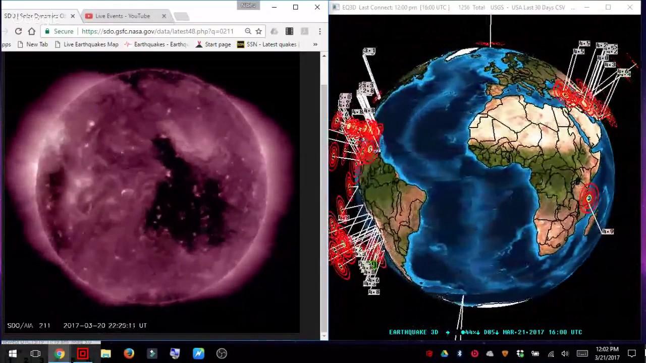 PLANET X NEWS LIVE STREAM 3 D EARTHQUAKE TRACKER AND CORONAL HOLE ON THE  SUN!