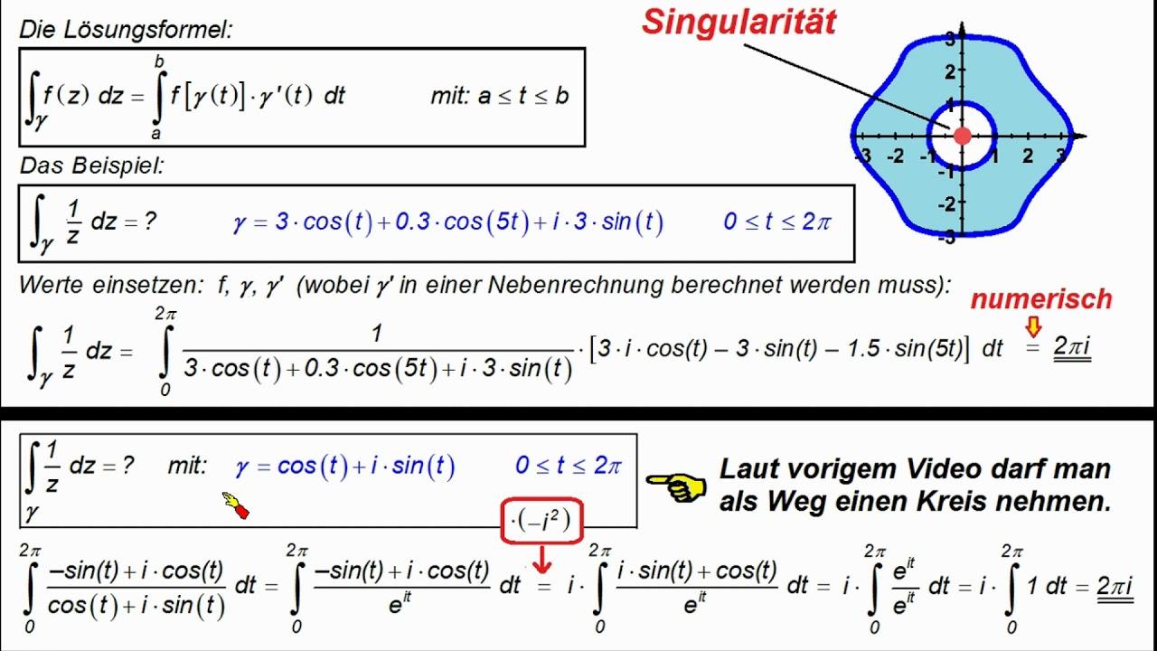 Funktheo Integrale Geschlossener Weg Cauchy 2 Beispiel Youtube