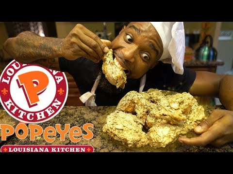 24K Gold Popeyes Fried Chicken! Cooking Southern Style   DIY Copycat Recipe