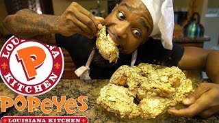 24K Gold Popeyes Fried Chicken! Cooking Southern Style | DIY Copycat Recipe