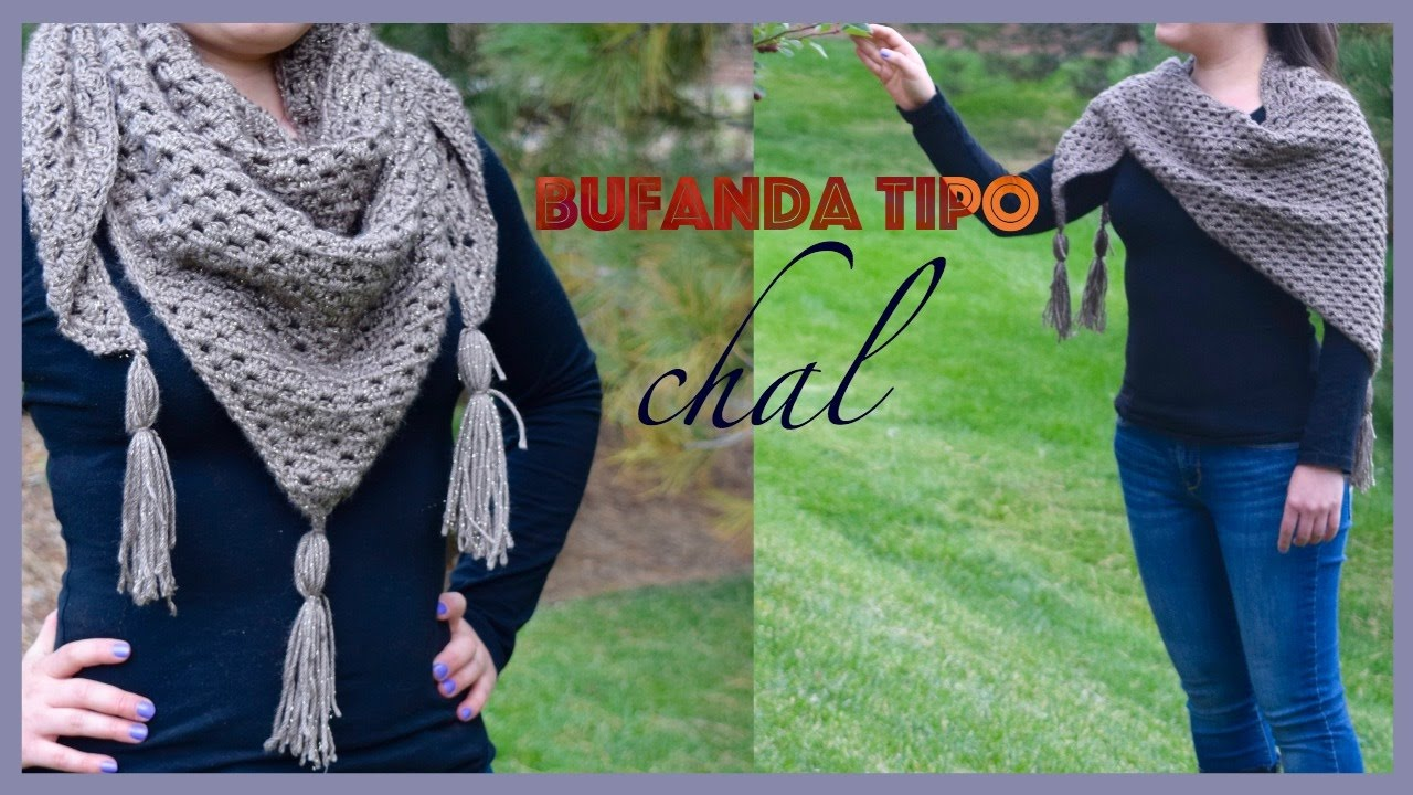 zapatos deportivos 59e61 77ba2 COMO TEJER UNA BUFANDA TIPO CHAL/ HOW TO CROCHET A TRIANGLE SCARF OR SHAWL