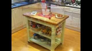 Shabby Chic Beech Butchers Block Kitchen Island Unit Table In Farmhouse Green.