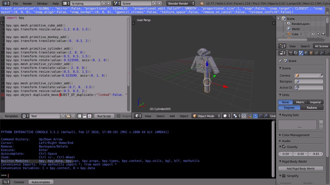 Blender Tutorial Introduction to Python Scripting Writing a Script That  Makes a Simple 3D Model
