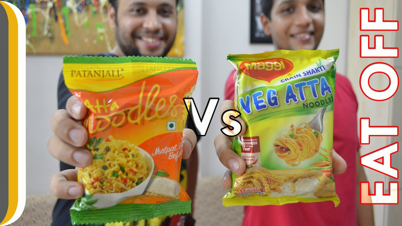 Patanjali atta noodles VS Maggi atta noodles | Eat Off ! [Hindi]