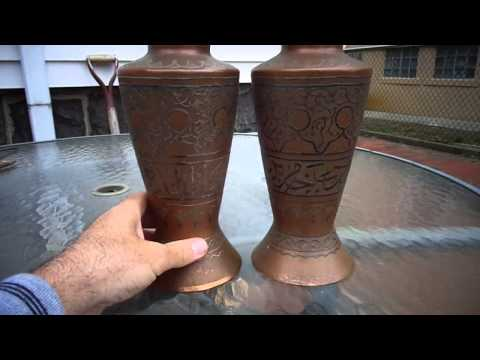 ANTIQUE MIDDLE EAST ISLAMIC CAIROWARE SILVER INLAID COPPER VASE SET ARABIC SCRIPT.