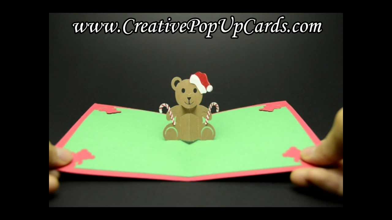 teddy bear pop up card template free - teddy bear christmas pop up card youtube