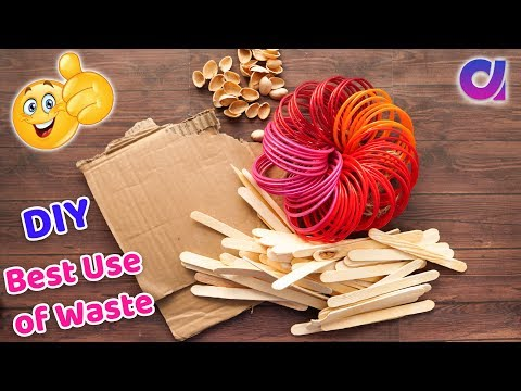How to reuse old bangles and waste materials   DIY HOME DECOR   Best Out Of Waste   Artkala 462