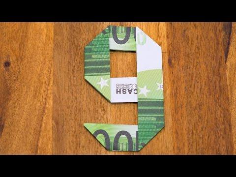 zahl 6 aus geldscheinen falten origami geldgeschenk n. Black Bedroom Furniture Sets. Home Design Ideas