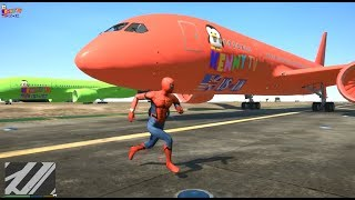 Learn Colors Airplane and Spiderman For Kids | Airplane Colors RED and Green