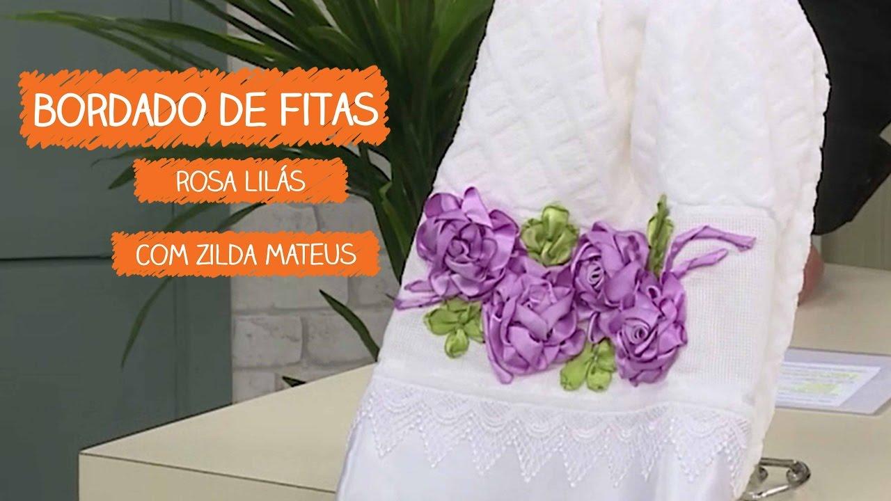 Artesanato Origami Passo A Passo ~ Bordado de Fitas Rosa Lilás com Zilda Mateus Vitrine do Artesanato na TV YouTube