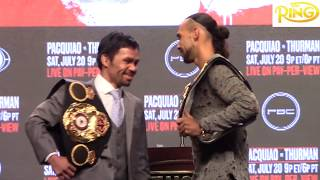 Manny Pacquiao and Keith Thurman Faceoff Before Their Title Fight