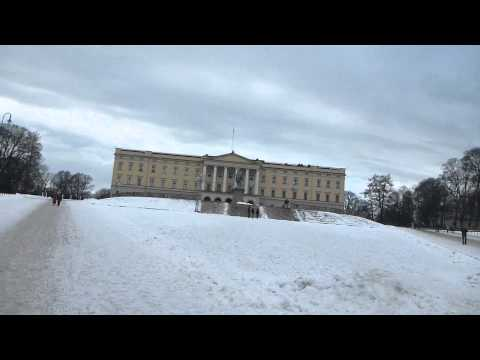 Outside the Royal Palace in Oslo   Norway   February 2015