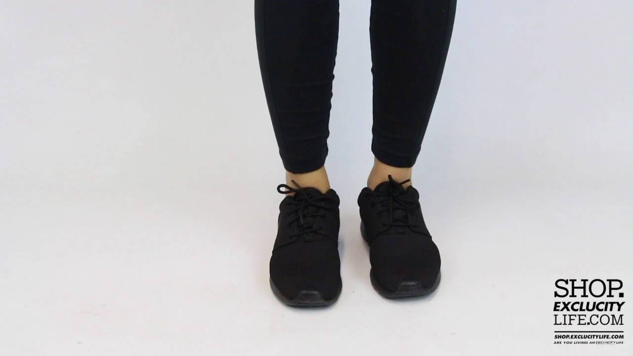 Women's Nike Roshe One Triple Black On feet Video at Exclucity