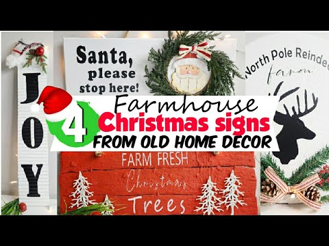Farmhouse Christmas Signs Reusing Old Home Decor Christmas Diy Christmas Decor 2020 Youtube