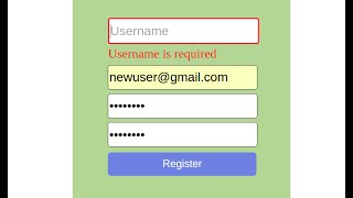 Form validation with JavaScript (on user registration form)